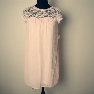 Babydoll Dress with Lace and Button Closure Size S